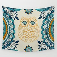 boho Wall Tapestries featuring BOHO Owl by rskinner1122