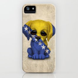 Cute Puppy Dog with flag of Bosnia - Herzegovina iPhone Case