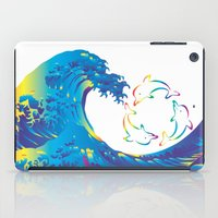 hokusai iPad Cases featuring Hokusai Rainbow & rotating dolphins_D by FACTORIE