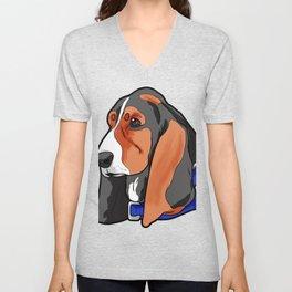Basset Hound Dog Puppy Doggie Present Unisex V-Neck