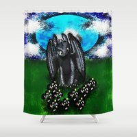 toothless Shower Curtains featuring Curious Toothless  by grapeloverarts
