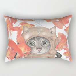 Scuba Cat Among the Fishes Rectangular Pillow