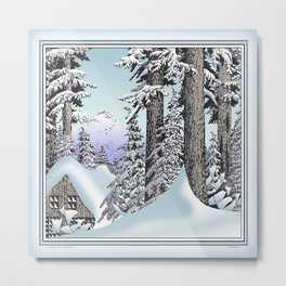 Snowed in the Douglas Fir Metal Print
