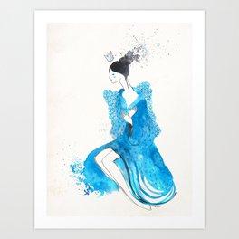 Blue Geisha (nostalgia) Art Print