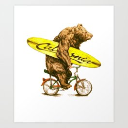 California bear with bicycle and surfboard for surfers Art Print