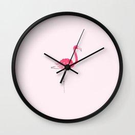 Hi Ho Flamingo Watercolor Painting Wall Clock