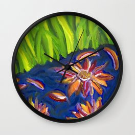 Flowers Float by Ladybug Grass Wall Clock