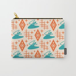 Mid Century Modern Space age Boomerang Pattern Turquoise and Orange 329 Carry-All Pouch