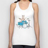 drums Tank Tops featuring Cat Playing Drums - Blue by Ornaart