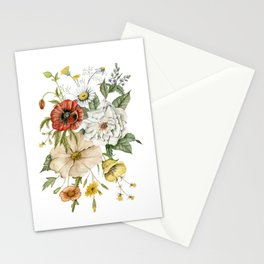 Wildflower Bouquet on White Stationery Cards