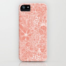 Modern trendy white floral lace hand drawn pattern orange pink iPhone Case