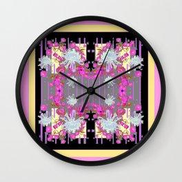 Yellow Art White Spider Mums Pink Flowers Garden Art Wall Clock