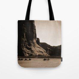 Canyon de Chelly - Chinle, Arizona – Navajo Indians on Horseback by Edward Curtis Tote Bag