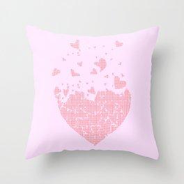 Flyaway Halftone Love Hearts Throw Pillow