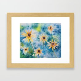 """Summertime"" Loose yellow coneflowers watercolor paintng Framed Art Print"