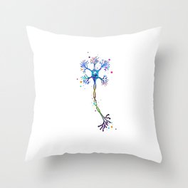 Motor Neuron Art Brain Cell Anatomy Art Colorful Blue Purple Watercolor Medical Science Art Throw Pillow