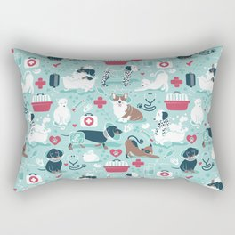 Veterinary medicine, happy and healthy friends // aqua background Rectangular Pillow