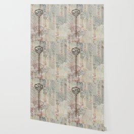 Antique French Key and Postmark Wallpaper