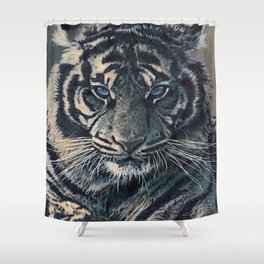 Tiger Eyes - by Julio Lucas  Shower Curtain