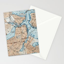 Vintage Map of Boston MA (1906) Stationery Cards