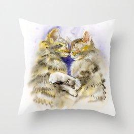 Kittens hugging Throw Pillow