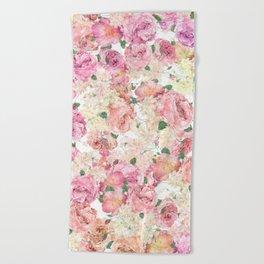 Flowers, Floral Explosion, Floral Pattern, Pink Flowers Beach Towel
