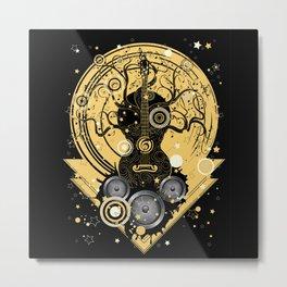 Retro geometric music themed design with guitar tree Metal Print