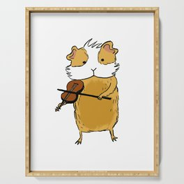 Guinea pig playing violin Serving Tray