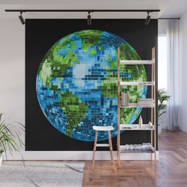 Galactic Disco Ball Planet Earth  Wall Mural