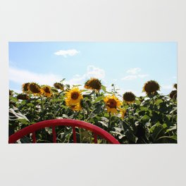 Sunflowers by a Red Chair Rug