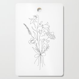 Small Wildflowers Minimalist Line Art Cutting Board