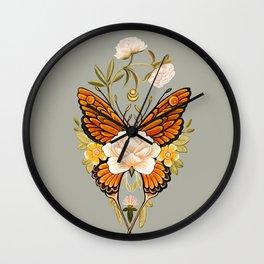 Butterfly Peonies Tattoo Wall Clock