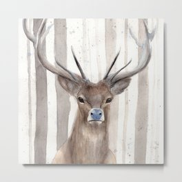 "Watercolor Painting of Picture ""Deer in Winter Forest"" Metal Print"