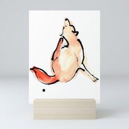 Watercolour and Ink Print of a British Fox Mini Art Print
