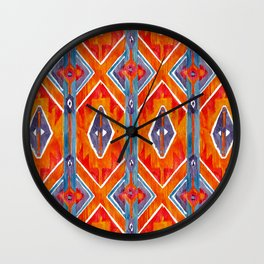 navajo ikat print medium Wall Clock