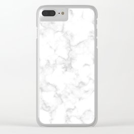 Classic Deep Grey and White Natural Stone Veining Quartz Clear iPhone Case