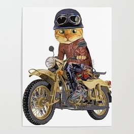 Cat riding motorcycle Poster