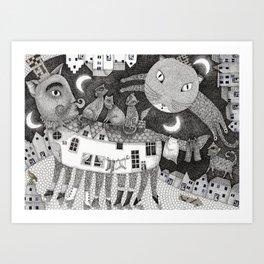 Cats at Night Art Print
