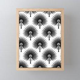 Fan Palm Leaves Black & White Framed Mini Art Print