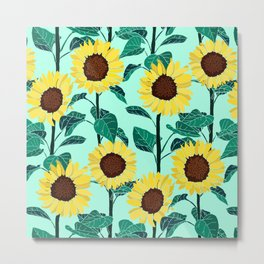 Sunny Sunflowers - Mint Metal Print