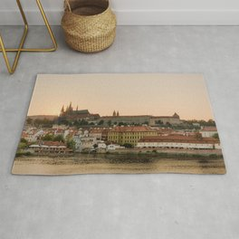 Prague Castle and Vltava river at sunset Rug