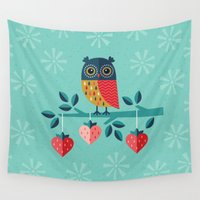 jazzberry Wall Tapestries featuring OWL ALWAYS LOVE YOU by Daisy Beatrice