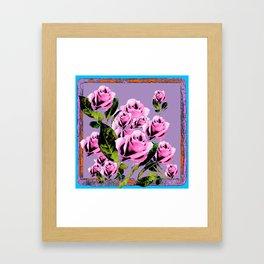 Pink -Black Color  Roses  Lavender Garden Pattern Blue Art Framed Art Print