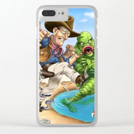 John Wayne VS. The Creature From The Black Lagoon Clear iPhone Case