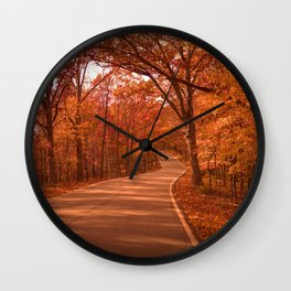 Autumnal Forest Road Wall Clock