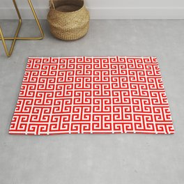Red and White Greek Key Pattern Rug