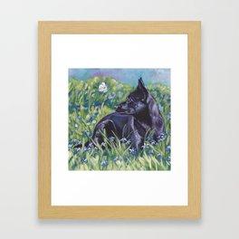 beautiful Australian Kelpie dog art from an original painting by L.A.Shepard Framed Art Print