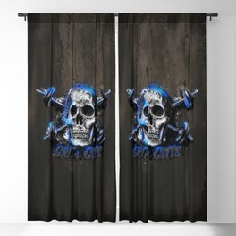 Grit and Guts Skull Neon Blue Blackout Curtain