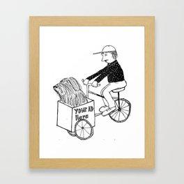 I bike with my sheep dog Framed Art Print