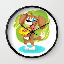 Lovely Puppy Holding Daisy Cartoon Wall Clock